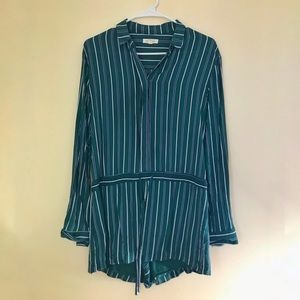 c4e70ead010a silence + noise Pants - Urban Outfitters Striped Long Sleeve Romper